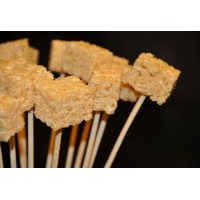 Rice Crispy Treats on wooden spit for Chocolate Dip